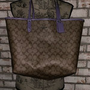 Brown and Purple Coach Tote